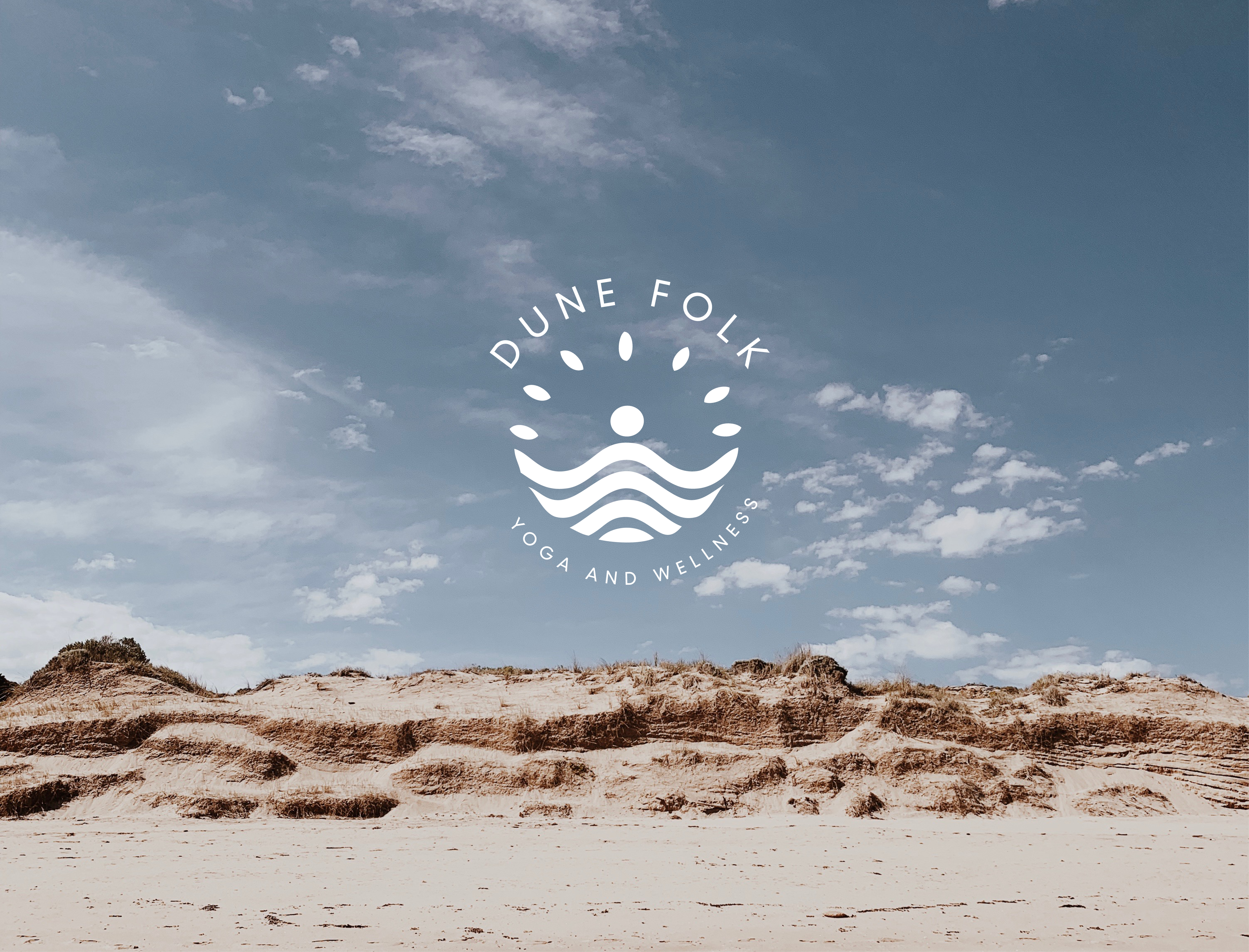 Dune Folk Yoga logo and landing page.